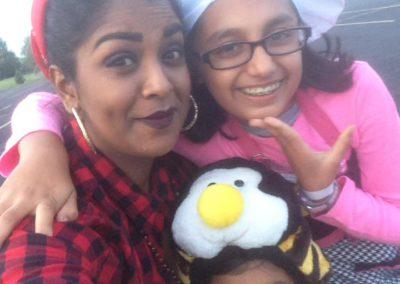 Saisha Naidoo and her host kids - Chola Chick, Chef and Buzzing bee - Bloomington IL, USA