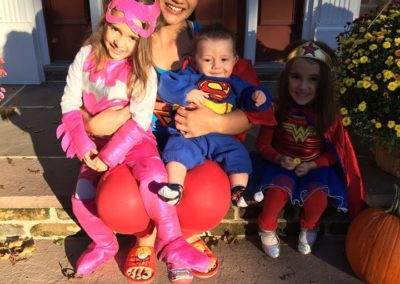 Noelle Jansen with her host kids for Halloween